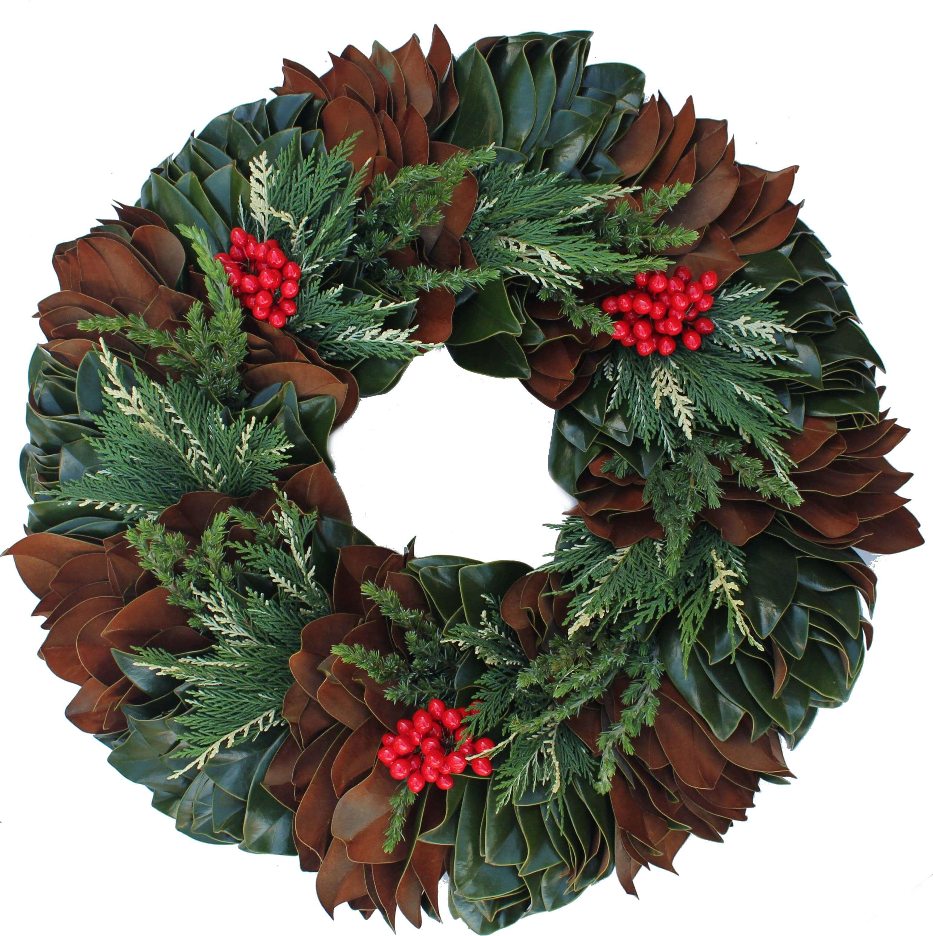 Magnolia Variegated Leyland & Ming Pine Christmas Wreath